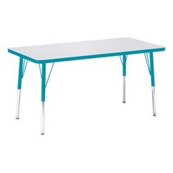 "Rectangle Rainbow Accents Activity Table (24"" W x 48"" L) - Teal edge band, legs & swivel glides"