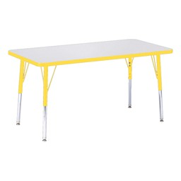 """Rectangle Rainbow Accents Activity Table (24"""" W x 48"""" L) - Yellow edge band, legs & swivel glides"""
