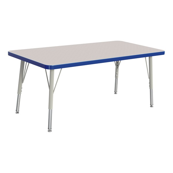 """Rectangle Rainbow Accents Activity Table (24"""" W x 48"""" L) - Blue edge band, legs & swivel glides"""