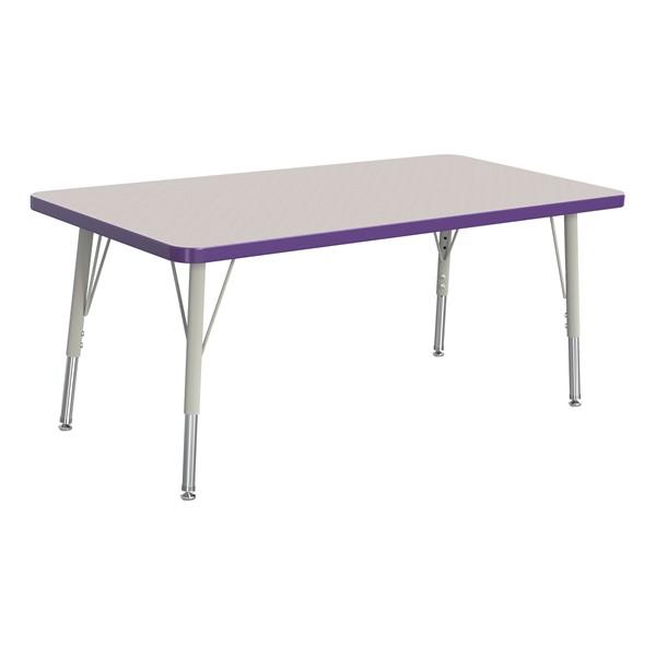 "Rectangle Rainbow Accents Activity Table (24"" W x 48"" L) - Purple edge band, legs & swivel glides"
