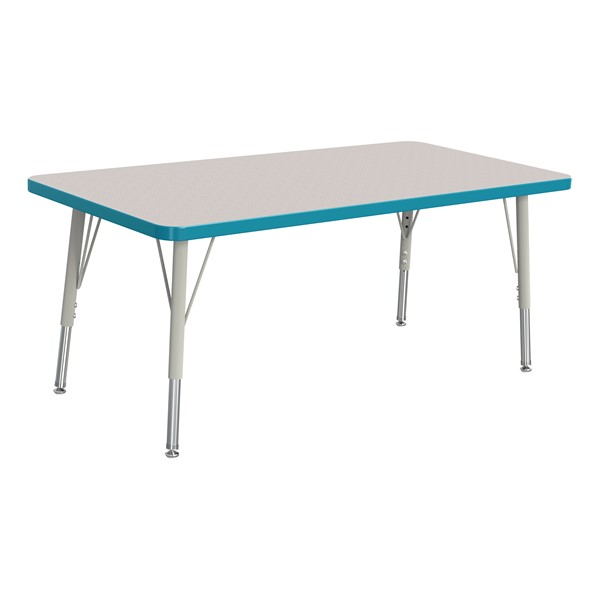 """Rectangle Rainbow Accents Activity Table (24"""" W x 48"""" L) - Teal edge band, legs & swivel glides"""