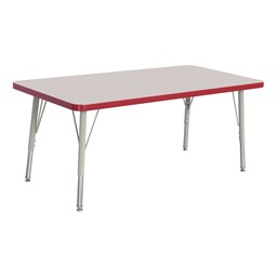 """Rectangle Rainbow Accents Activity Table (24"""" W x 48"""" L) - Red edge band, legs & swivel glides"""