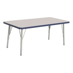 """Rectangle Rainbow Accents Activity Table (24"""" W x 48"""" L) - Navy edge band, legs & swivel glides"""