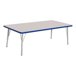 """Rectangle Rainbow Accents Activity Table (30"""" W x 60"""" L) - Blue edge band, legs & swivel glides"""