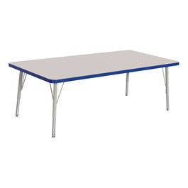 """Rectangle Rainbow Accents Activity Table (30\"""" W x 60\"""" L) - Blue edge band, legs & swivel glides"""