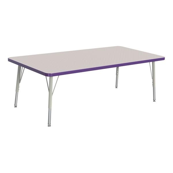 "Rectangle Rainbow Accents Activity Table (30"" W x 60"" L) - Purple edge band, legs & swivel glides"