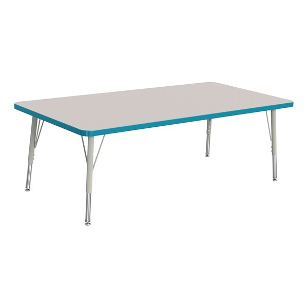 """Rectangle Rainbow Accents Activity Table (30"""" W x 60"""" L) - Teal edge band, legs & swivel glides"""
