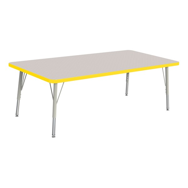"""Rectangle Rainbow Accents Activity Table (30"""" W x 60"""" L) - Yellow edge band, legs & swivel glides"""