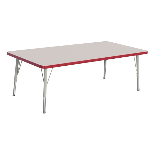 """Rectangle Rainbow Accents Activity Table (30"""" W x 60"""" L) - Red edge band, legs & swivel glides"""