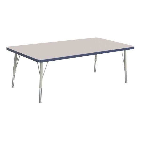 """Rectangle Rainbow Accents Activity Table (30"""" W x 60"""" L) - Navy edge band, legs & swivel glides"""
