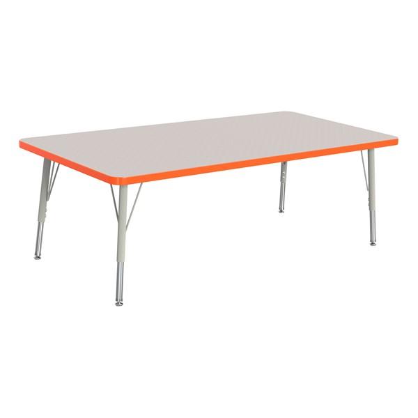 "Rectangle Rainbow Accents Activity Table (30"" W x 60"" L) - Orange edge band, legs & swivel glides"