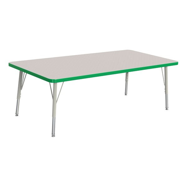 """Rectangle Rainbow Accents Activity Table (30"""" W x 60"""" L) - Green edge band, legs & swivel glides"""