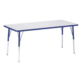 """Rectangle Rainbow Accents Activity Table (30\"""" W x 72\"""" L) - Blue edge band, legs & swivel glides"""