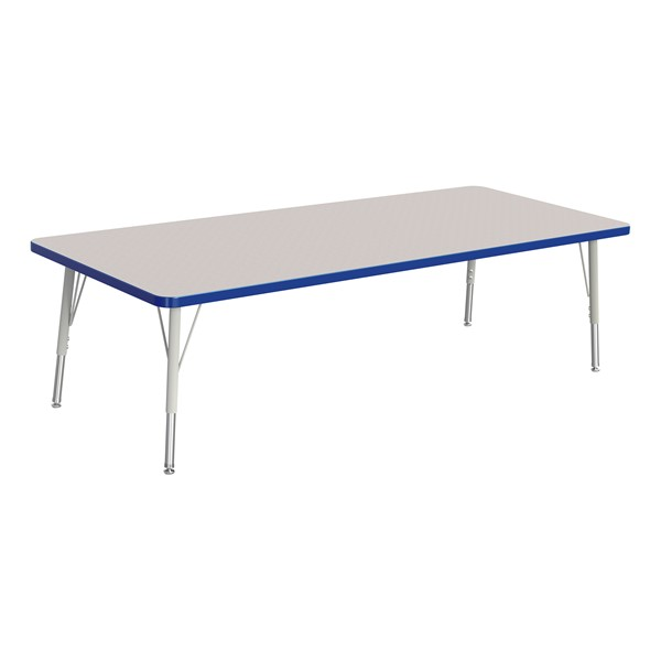 """Rectangle Rainbow Accents Activity Table (30"""" W x 72"""" L) - Blue edge band, legs & swivel glides"""