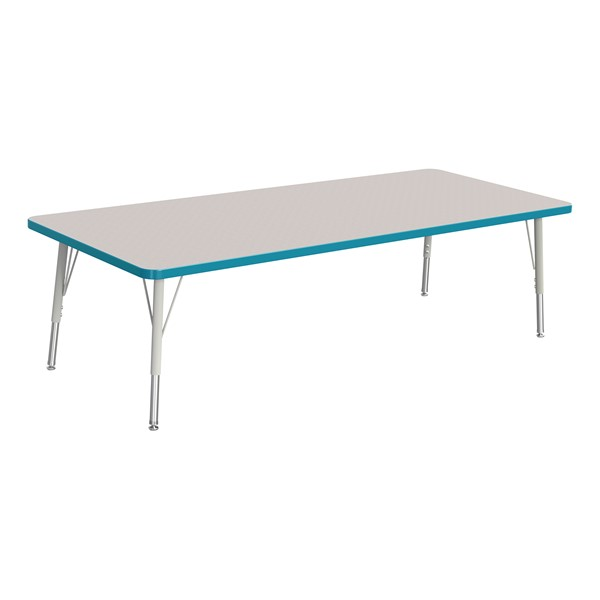 """Rectangle Rainbow Accents Activity Table (30"""" W x 72"""" L) - Teal edge band, legs & swivel glides"""