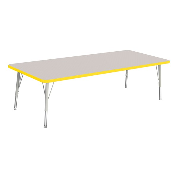 """Rectangle Rainbow Accents Activity Table (30"""" W x 72"""" L) - Yellow edge band, legs & swivel glides"""