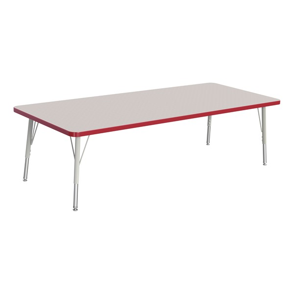 """Rectangle Rainbow Accents Activity Table (30"""" W x 72"""" L) - Red edge band, legs & swivel glides"""
