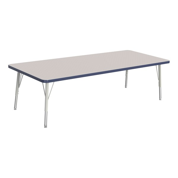 """Rectangle Rainbow Accents Activity Table (30"""" W x 72"""" L) - Navy edge band, legs & swivel glides"""