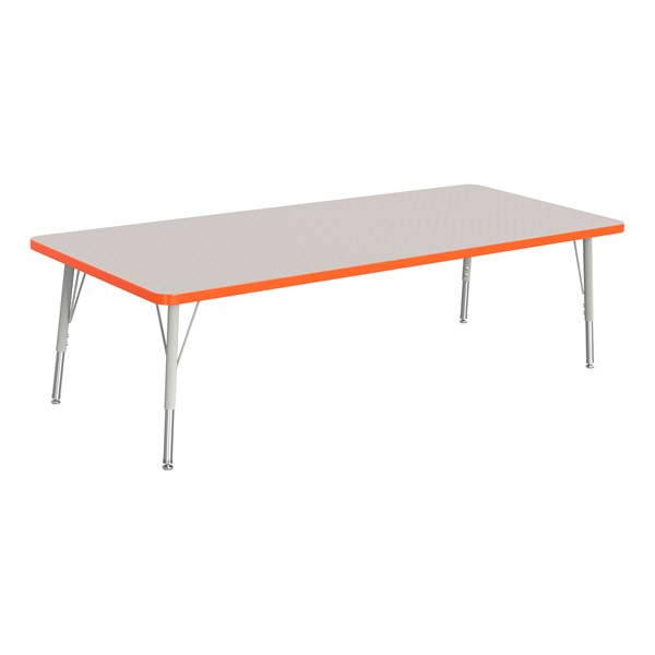"Rectangle Rainbow Accents Activity Table (30"" W x 72"" L) - Orange edge band, legs & swivel glides"