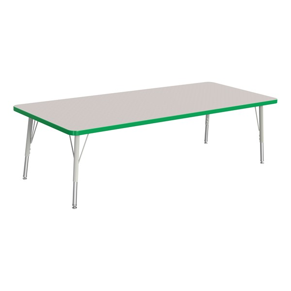 """Rectangle Rainbow Accents Activity Table (30"""" W x 72"""" L) - Green edge band, legs & swivel glides"""