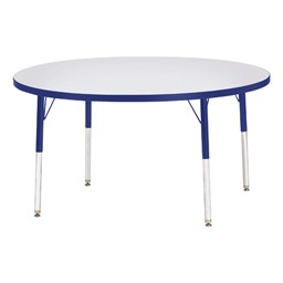 Round Rainbow Accents Activity Table - Blue edge band, legs & swivel glides