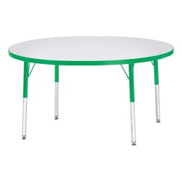 Round Rainbow Accents Activity Table - Green edge band, legs & swivel glides