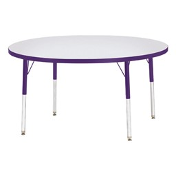 Round Rainbow Accents Activity Table - Purple edge band, legs & swivel glides