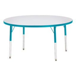 Round Rainbow Accents Activity Table - Teal edge band, legs & swivel glides