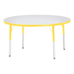 Round Rainbow Accents Activity Table - Yellow edge band, legs & swivel glides