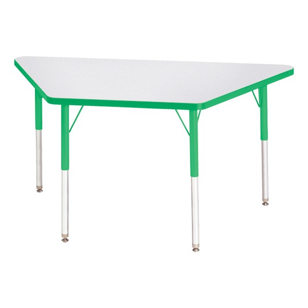 Trapezoid Rainbow Accents Activity Table - Green edge band, legs & swivel glides