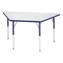 Trapezoid Rainbow Accents Activity Table - Navy edge band, legs & swivel glides