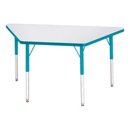 Trapezoid Rainbow Accents Activity Table - Teal edge band, legs & swivel glides