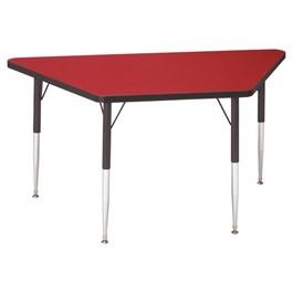 Trapezoid Preschool Activity Table - Red top & black edge band, legs & swivel glides