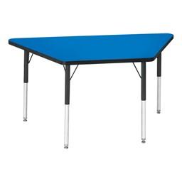 Trapezoid Preschool Activity Table - Blue top & black edge band, legs & swivel glides