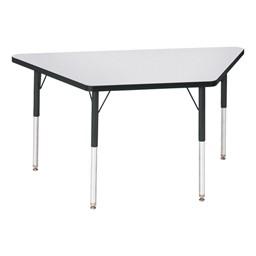 Trapezoid Preschool Activity Table - Gray top & black edge band, legs & swivel glides