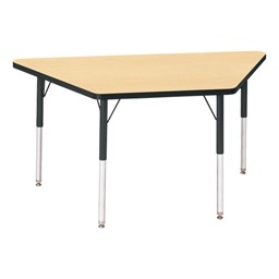 Trapezoid Preschool Activity Table - Maple top & black edge band, legs & swivel glides