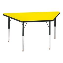 Trapezoid Preschool Activity Table - Yellow top & black edge band, legs & swivel glides