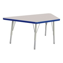 Trapezoid Rainbow Accents Activity Table - Blue edge band, legs & swivel glides