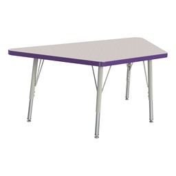 Trapezoid Rainbow Accents Activity Table - Purple edge band, legs & swivel glides
