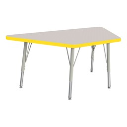 Trapezoid Rainbow Accents Activity Table - Yellow edge band, legs & swivel glides