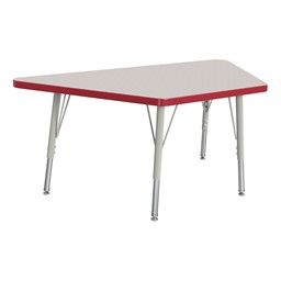 Trapezoid Rainbow Accents Activity Table - Red edge band, legs & swivel glides