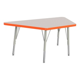 Trapezoid Rainbow Accents Activity Table - Orange edge band, legs & swivel glides