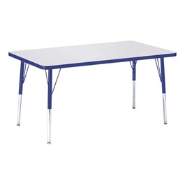 """Rectangle Rainbow Accents Activity Table (30\"""" W x 48\"""" L) - Blue edge band, legs & swivel glides"""