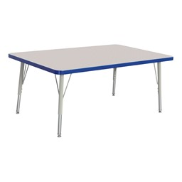 """Rectangle Rainbow Accents Activity Table (30"""" W x 48"""" L) - Blue edge band, legs & swivel glides"""