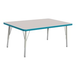 """Rectangle Rainbow Accents Activity Table (30"""" W x 48"""" L) - Teal edge band, legs & swivel glides"""
