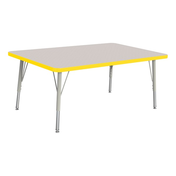 """Rectangle Rainbow Accents Activity Table (30"""" W x 48"""" L) - Yellow edge band, legs & swivel glides"""