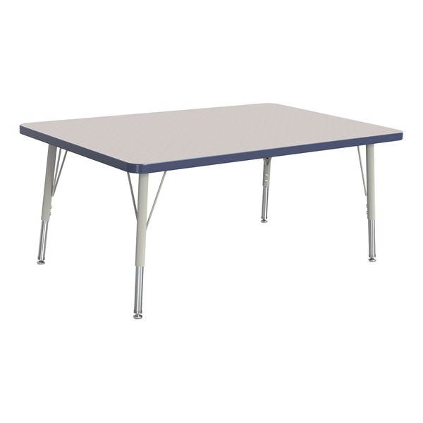 """Rectangle Rainbow Accents Activity Table (30"""" W x 48"""" L) - Navy edge band, legs & swivel glides"""