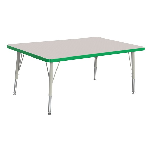 """Rectangle Rainbow Accents Activity Table (30"""" W x 48"""" L) - Green edge band, legs & swivel glides"""
