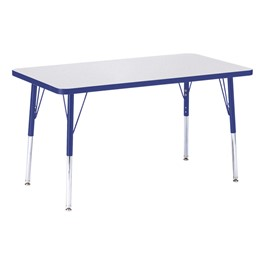 """Rectangle Rainbow Accents Activity Table (24\"""" W x 36\"""" L) - Blue edge band, legs & swivel glides"""