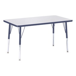 """Rectangle Rainbow Accents Activity Table (24"""" W x 36"""" L) - Navy edge band, legs & swivel glides"""